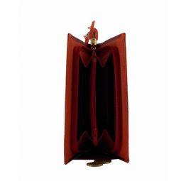 Billetero grande para mujer en piel color rojo
