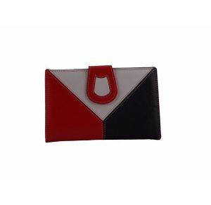 Billetero de piel para mujer color rojo, blanco y azul marino