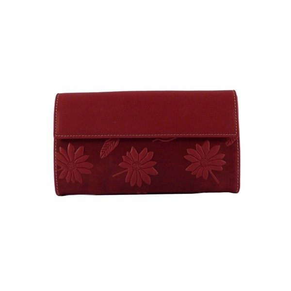Billetero para mujer mediano de piel en rojo estampado flores