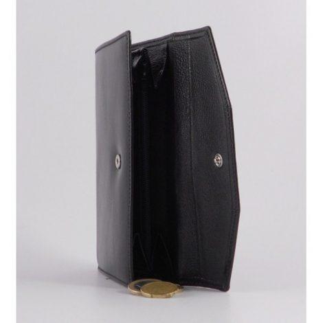 Billetero clásico para mujer en piel color negro mediano