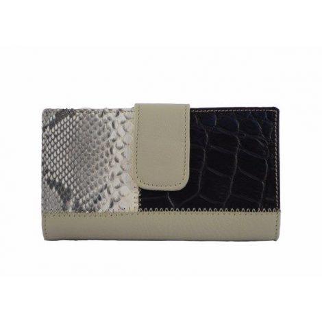 Billetera para mujer beige combinada con marrón coco y serpiente