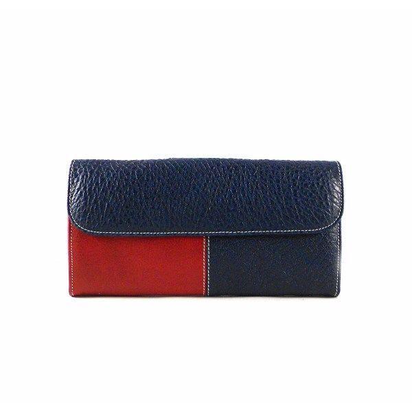1c095c145 Billetera grande de piel mujer blanco, azul y rojo con monedero
