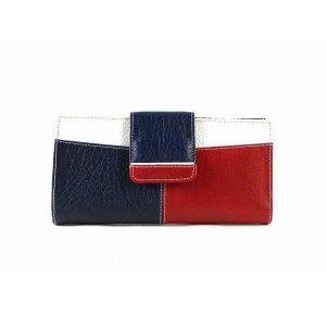 Billetera grande de piel mujer blanco, azul y rojo con monedero