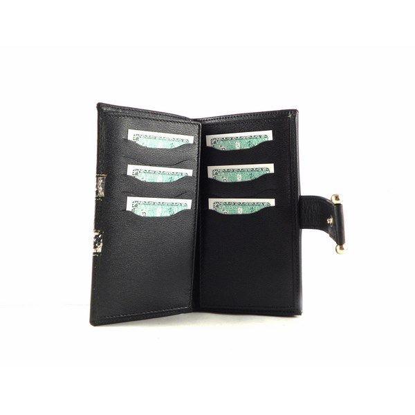 Billetera de mujer piel mediana en color negro y plata