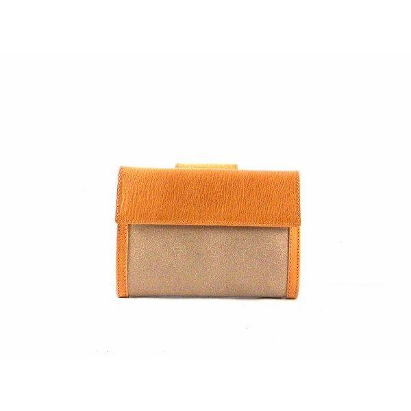 Billetera para mujer en piel rota de tamaño mediano color beige