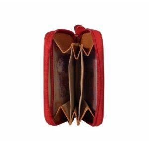 Monedero de piel con cierre de cremallera y tarjetero
