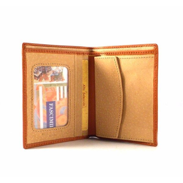 Billetera piel Nilo con monedero y doble billetero en color cuero