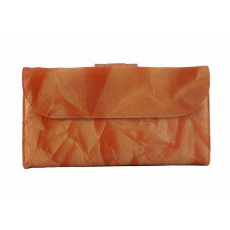 Billetero piel mujer grande Nilo en color naranja