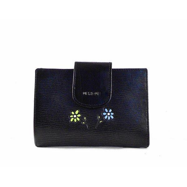 Billetero de piel para mujer con detalle floral en color negro