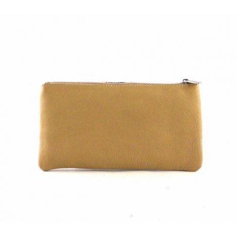 Monedero - neceser de piel con cremallera para bolso camel y marrón