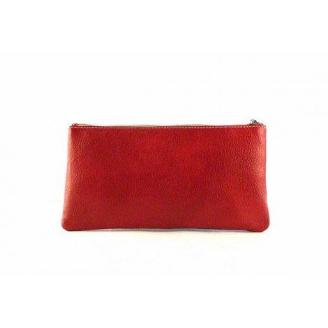 Monedero - neceser de piel con cremallera para bolso rojo, azul y blanco