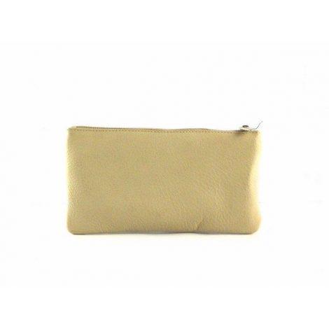 Monedero - neceser de piel con cremallera para bolso beis y burdeos