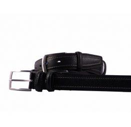 Cinturón de hombre en piel color negro con costuras externas