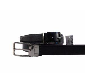 Cinturón de piel reversible negro con cuero