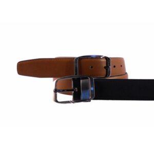 Cinturón de piel reversible negro y cuero