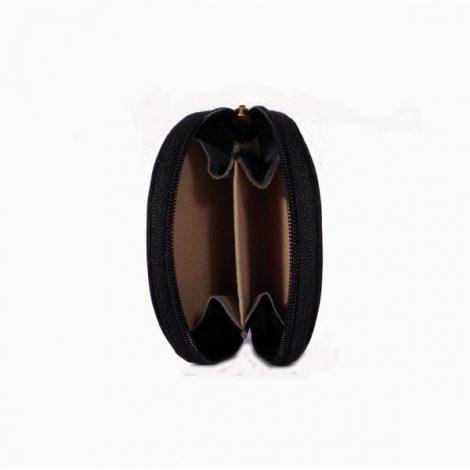 Monedero de piel pequeño semicircular con cremallera