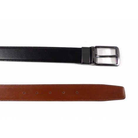Cinturón piel Miguel Bellido reversible negro - cuero con hebilla plata