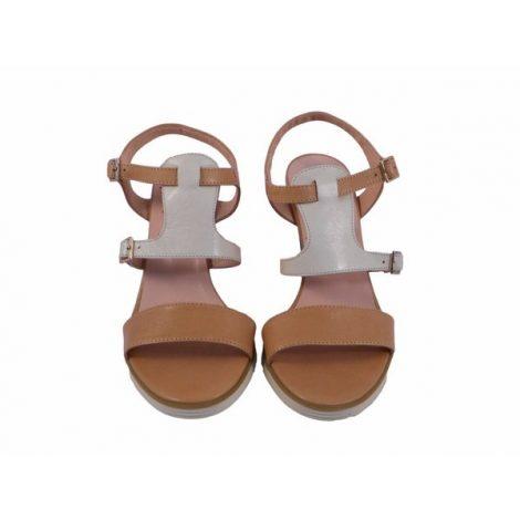 Sandalias de cuña Vitti Love beige arena y blanco