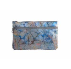 Neceser para bolso en piel flores plateadas