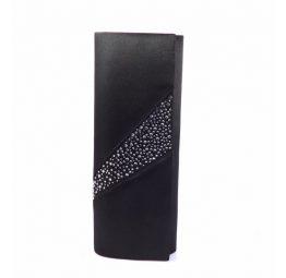 Cartera raso Victoria Delef en negro con cristales