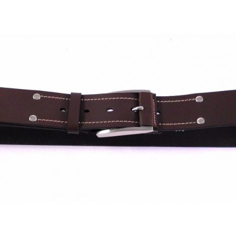 Cinturón piel sport con pespuntes