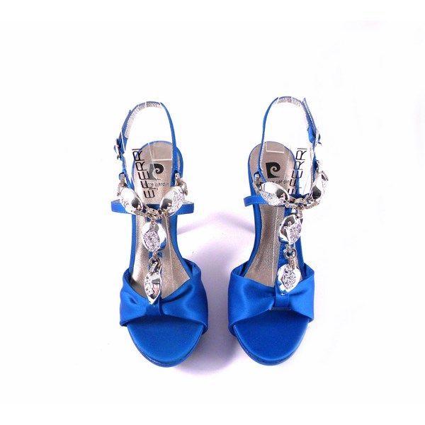 Sandalias Pierre Cardin azul con aplique plata