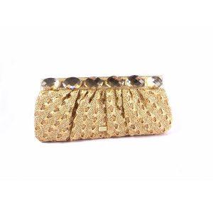 Cartera EFerri oro textil trenzado