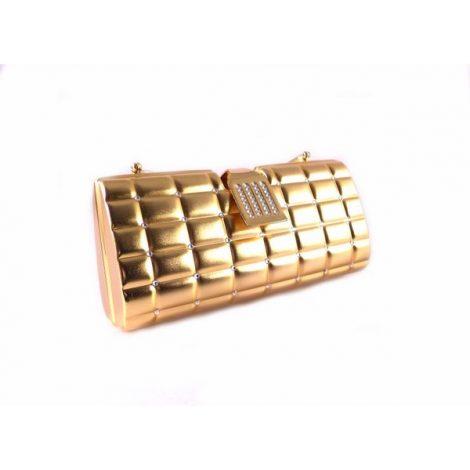 Clutch latón dorado con asa y bandolera