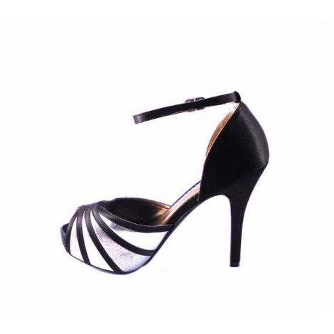 Sandalias Glamour E.Ferri plata y negro
