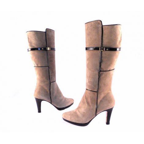 Botas altas Pasther serraje beis con detalles charol marrón