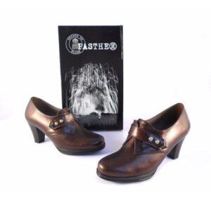 Zapatos Pasther abotinados marrón metalizado con cierre de velcro