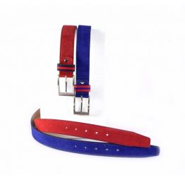 Cinturón unisex serraje en azulón o rojo