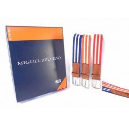 Cinturón elástico Miguel Bellido rayado con piel