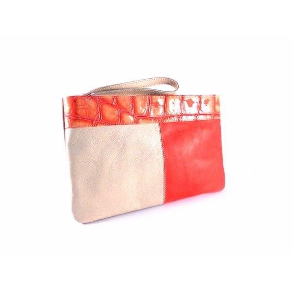 Neceser bolso de piel grande para mujer color rojo