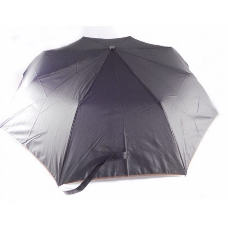 Paraguas plegable Bisetti negro con ribete