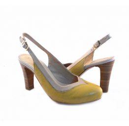 Zapatos tipo salón Virus Moda amarillos y beis