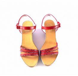 Sandalias cuña Vitti Love pedrería rojas