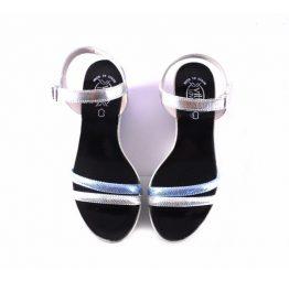 Sandalias cuña Vitti Love plata y azul