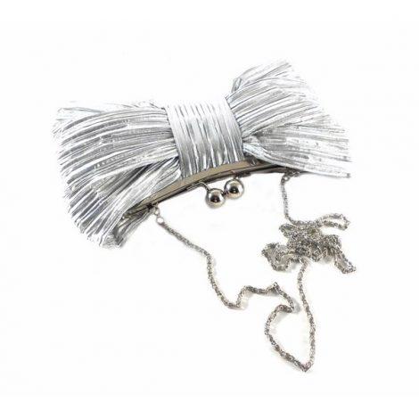 Bolso fiesta E.Ferri drapeado plata