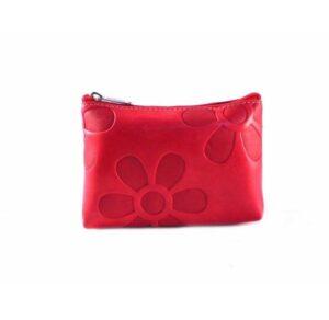 Monedero en piel Nilo para mujer color rojo con cremallera