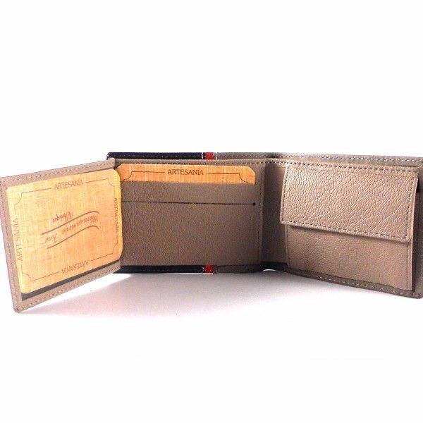 Billetera piel Nilo americana sin cierre con monedero en color taupe combinado