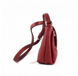 Bandolera E.Ferri print al tono en negro, rojo cereza y beis taupe