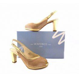 Zapatos peep toes J.Montesinos en piel dorados