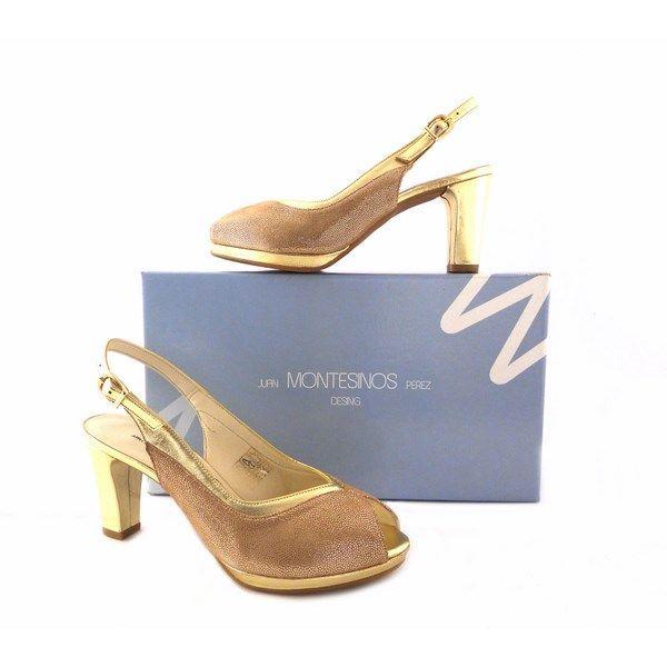 Toes J Dorados Piel Zapatos En montesinos Peep PkNw80ZnOX