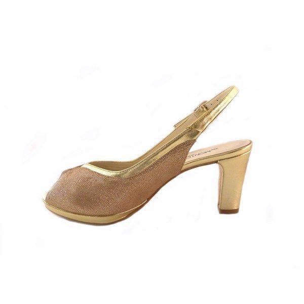 Zapatos peep toes J.Montesinos en piel dorados 077389a9a54e