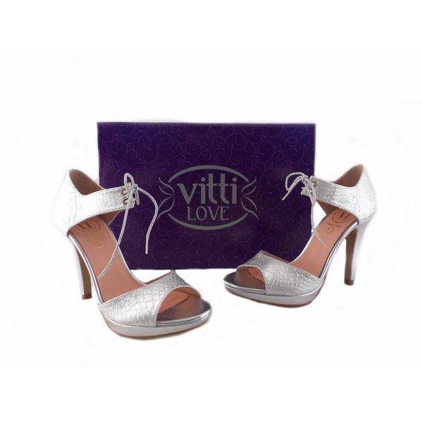 Sandalias Vitti Love reptil plata con lazada al tobillo