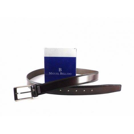 Cinturón Miguel Bellido en piel color burdeos brillo