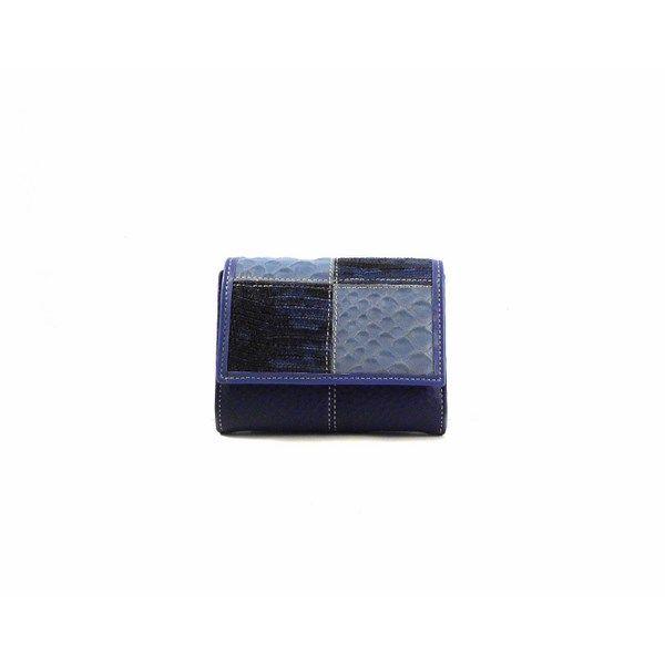 Cartera de piel mini Nilo en combinación de azul para mujer