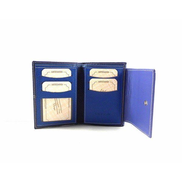 Cartera de piel pequeña Nilo en combinación de azul para mujer