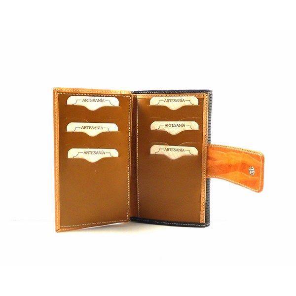 Cartera de piel mediana Nilo texturas en color camel y marrón